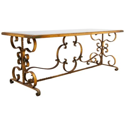 french art deco wrought iron coffee table 1930s