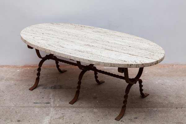 brutalist wrought iron travertine oval top coffee table 1960s