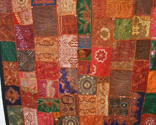 tapis vintage patchwork fait main 1950s