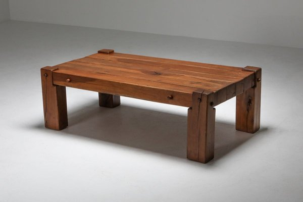 mid century rustic solid oak coffee table 1960s