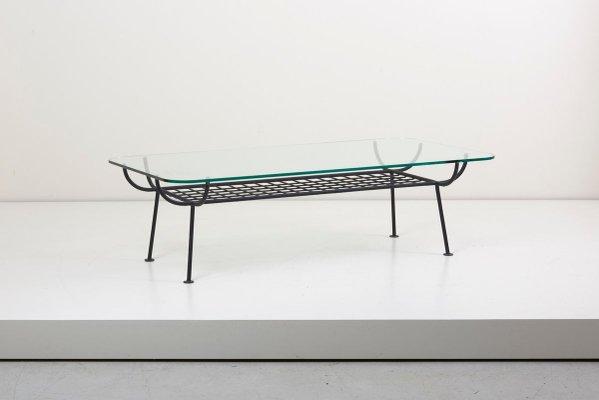 table basse en fer forge avec plateau en verre par george nelson pour arbuck 1950s