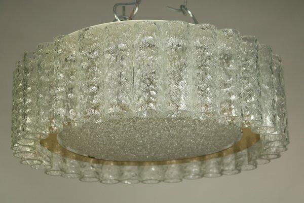 plafonnier tube vintage en verre de doria leuchten 1960s