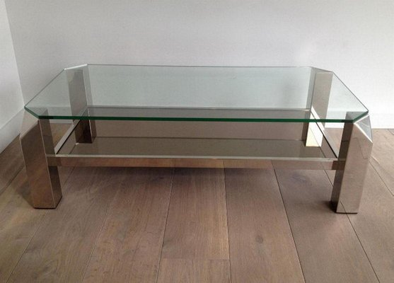 octagon chrome coffee table with clear glass and mirror 1970s