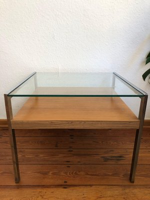 coffee or side table with glass plate and shelf in veneered wood 1970s