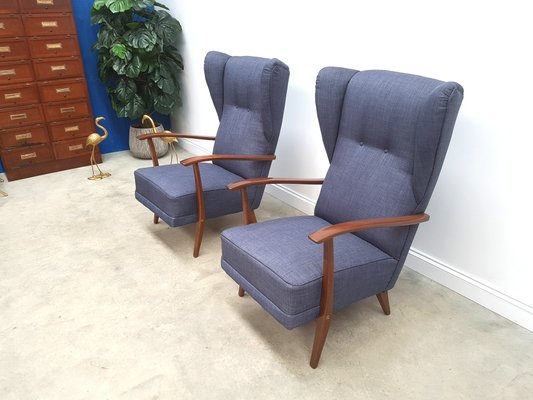 navy blue tweed high back lounge chairs 1950s set of 2