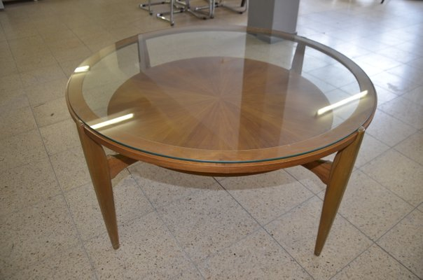 mid century round walnut coffee table 1960s