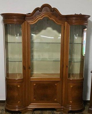 vitrine chippendale en bois massif de mobili signoretto 1950s