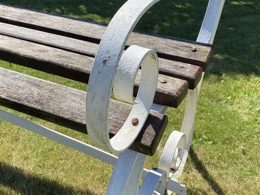 banc de jardin vintage en fer forge et bois royaume uni