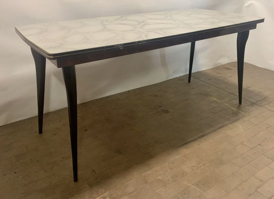Mid Century Dining Table With Marbled Glass Top 1960s For Sale At Pamono