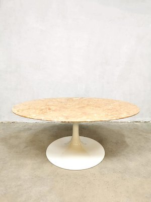 mid century marble oval coffee table in the style of florence knoll 1960s