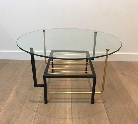 french black lacquered and brass round coffee table with glass top attributed to mathieu mategot 1950s