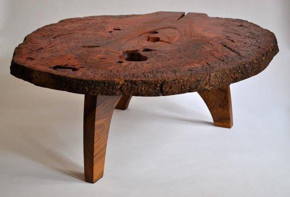 dark red signed table by jorg pietschmann