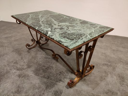wrought iron and marble coffee table 1950s