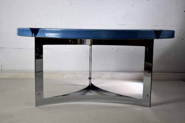 mid century blue ceramic coffee table 1968