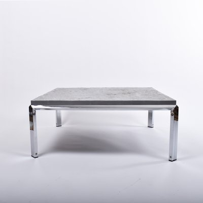 square slate coffee table with chrome plated steel legs 1970s