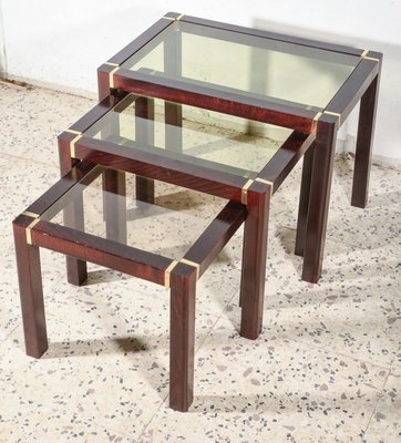 wooden triptych coffee tables with glass top 1980s set of 3
