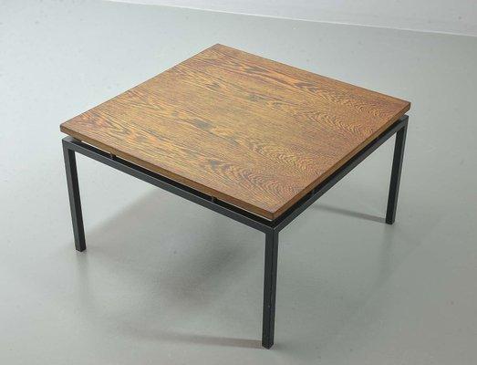 table basse minimaliste avec cadre en acier et plateau en bois wenge de stiemsma pays bas 1950s