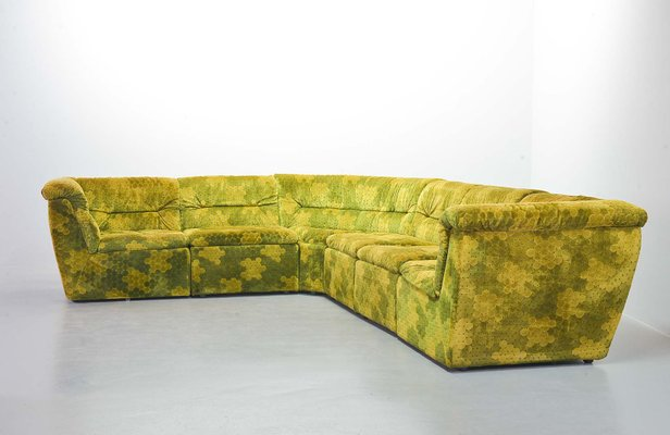 gold green velvet dots modular lounge sectional sofa set from laauser 1970s set of 6