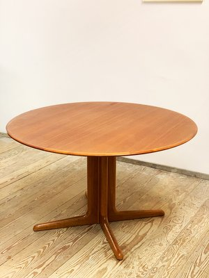 mid century modern round teak extendable dining table 1960s