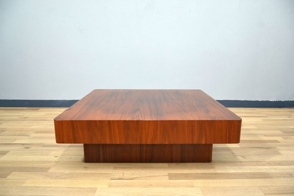 large square walnut coffee table 1970s