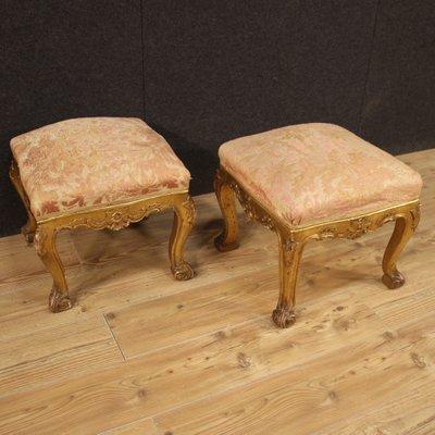 italian golden footstools 1950s set of 2