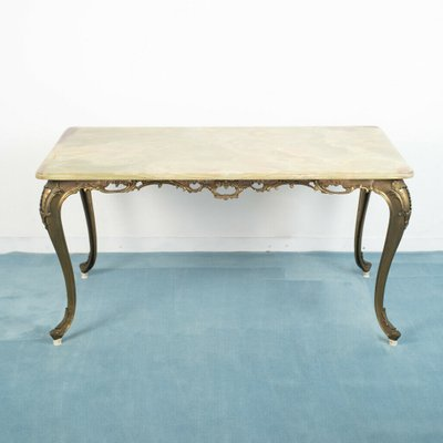 vintage brass and marble coffee table 1950s