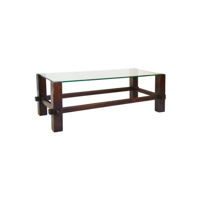 wooden frame glass top model 2461 coffee table from fontana arte 1960s