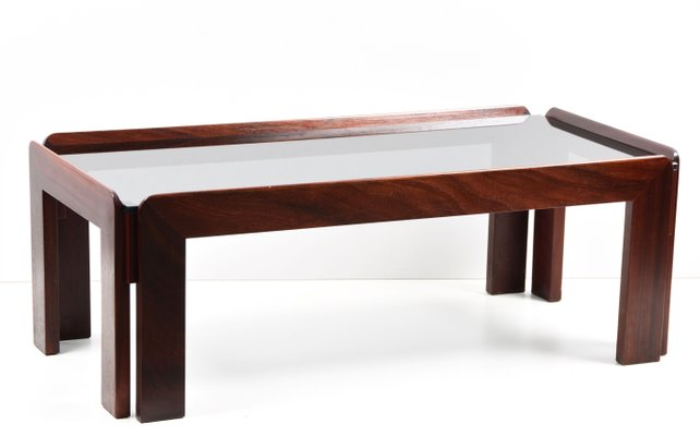 rectangular wood smoked glass coffee table by tobia afra scarpa for cassina 1960s