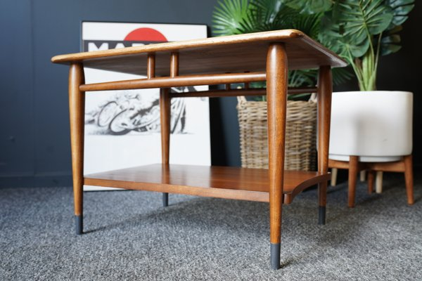 mid century vintage walnut and oak side table from lane furniture 1950s