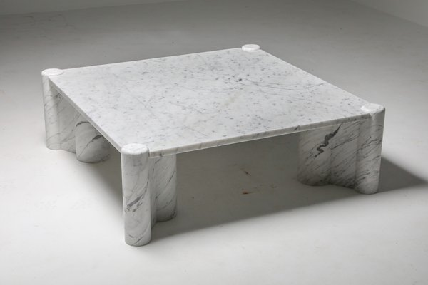 jumbo carrara white marble coffee table by gae aulenti for knoll inc knoll international 1960s