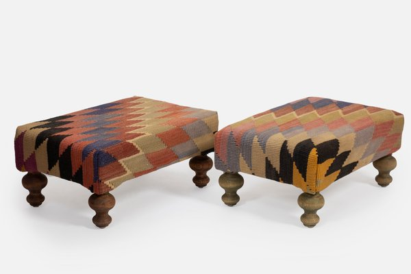small turkish kilim ottomans with wooden legs set of 2