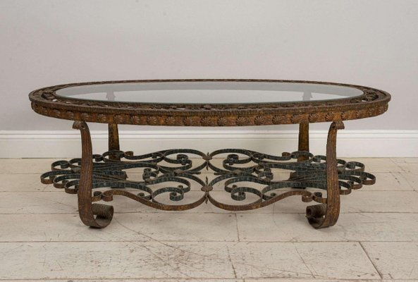 20th century spanish wrought iron coffee table