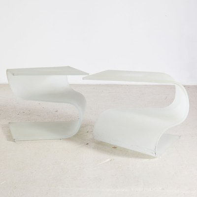 vintage frosted glass coffee tables 1980s set of 2