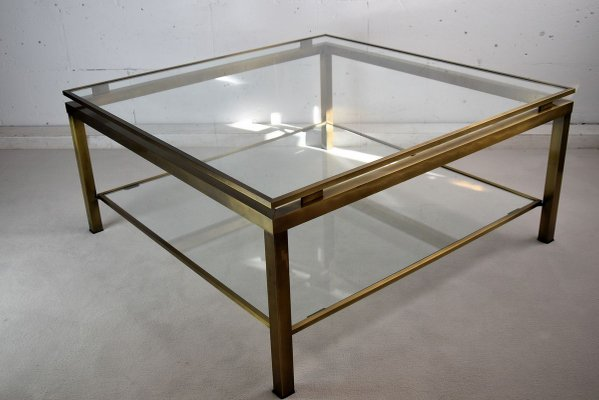 mid century modern brass and glass two tier coffee table from maison jansen
