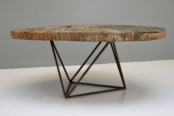 tree trunk coffee table with geometric base 1930s