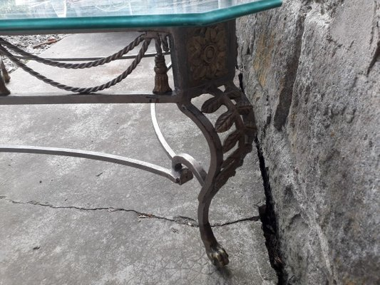 https www pamono eu large wrought iron coffee table with glass top 1950s