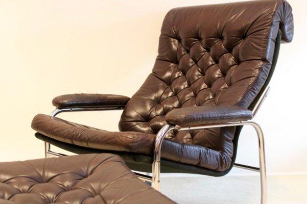 fauteuil avec ottomane en cuir perce par noboru nakamura pour ikea 1970s
