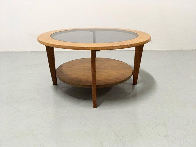 Table Basse Vintage Ronde Avec Verre Danemark 1960s En