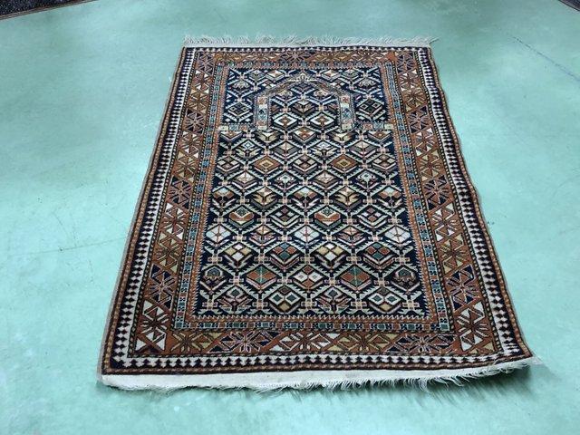 tapis oriental en laine et soie 1950s