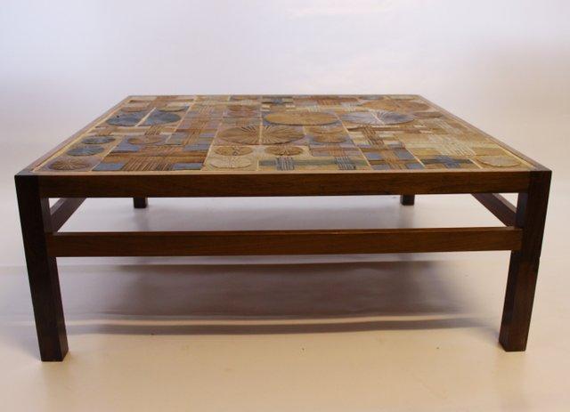 danish rosewood ceramic tile coffee table by tue poulsen for erik worts mobelfabrik 1960s