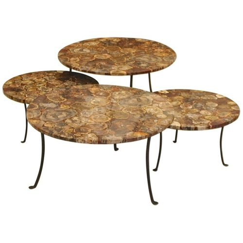 tables basses vintage en bois petrifie et fer forge set de 4