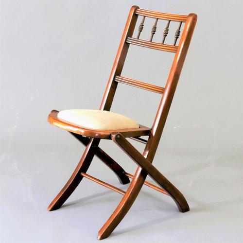 chaise pliante edouardienne ancienne en hetre annees 1900