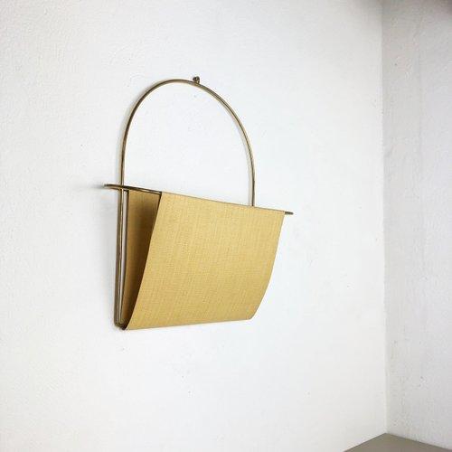 mid century austrian brass wall hanging magazine rack