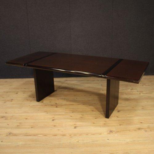 table de salle a manger en bois exotique italie 1970s