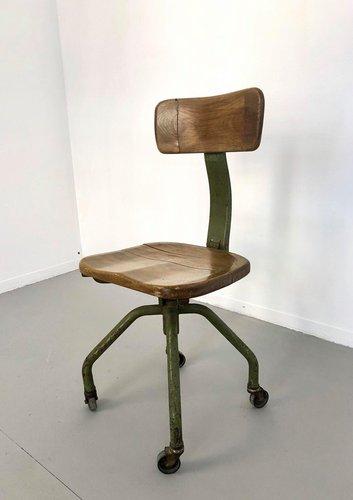 chaise de bureau vintage industrielle en fer et bois par trau torino 1950s
