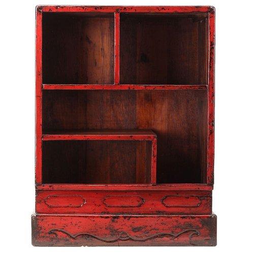 vitrine antique rouge laque