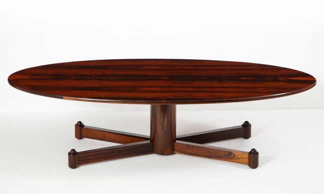 table basse ovale mid century moderne en bois de feuillu bresil 1950s