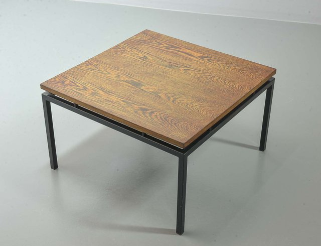 dutch minimalist coffee table with steel frame wenge wood floating top from stiemsma 1950s