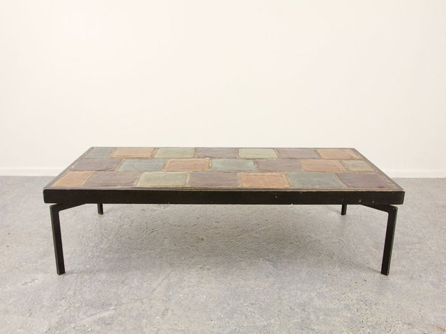 mid century modernist rectangular coffee table with ceramic tile top