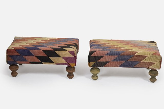 small kilim ottomans with wooden legs from vintage pillow store contemporary set of 2